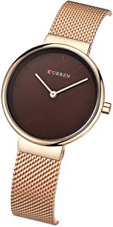 CURREN 9016 Women Quartz Watch Fashion Simple Stainless Steel Ladies Wristwatches (red)