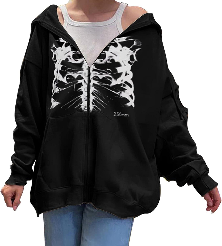 Women Rib Cage Skeleton Hoodie Casual Drawstring Zipper Hooded Sweatshirt Y2k Oversized Jacket Streetwear