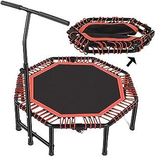 Folding Rebounder for Adults Kids Fitness, Trampoline Trainer with Adjustable Handle Bar for Indoor/Garden/Workout Exercis...