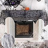 otutun Paño Negro de Halloween, Decoración de Halloween Telaraña y Gasa PoliéSter AlgodóN...