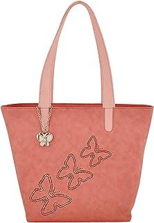 Butterflies Women's Handbag (Baby Pink) (BNS 0589BPK)
