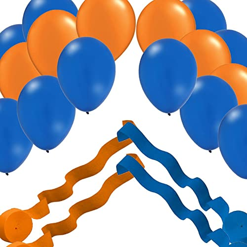 2 bleu & 2 Orange Streamer Rolls and 24 Party Balloons Decorating Kit by Qualatex