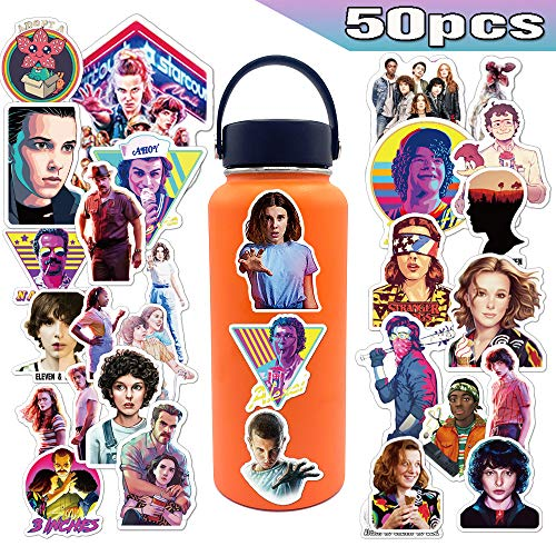 WELL BUY Strangers Theme Stickers 50pcs, Strangers Theme Stickers for Hydroflasks Laptops Waterproof Vinyl Decals Skins for Water Bottle Bicycle Skateboad, Teens Fans (Strangers Theme Stickers)