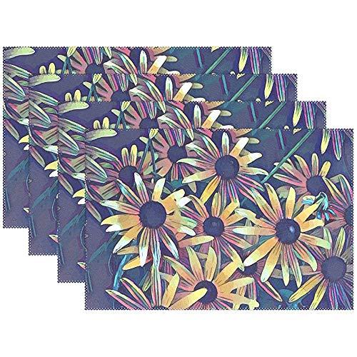 Spring Floral Black Eyed Susan Daisies Abstract Placemats Set de 6 para mesa de comedor Durable antideslizante Mesa de cocina Manteles individuales