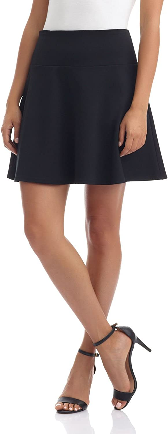 Rekucci Women's Ease in to Comfort Wide Waist Flared Flippy Skirt Luxe Ponte
