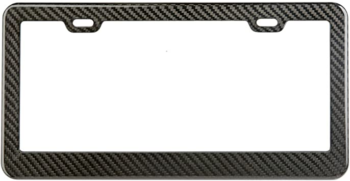 2 Black Carbon Fiber Look metal Car License plate frames holder Blank CBMLF2