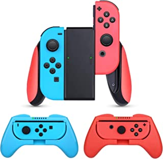 HEYSTOP Compatible with Nintendo Switch Grip,3 Pack Comfort Grip Handle Kit for Switch Joy-Con,Black,Blue,Red