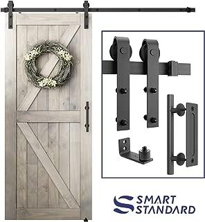 6.6 FT Heavy Duty Sturdy Sliding Barn Door Hardware Kit, 6.6ft Single Rail, Black, (Whole Set Includes 1x Pull Handle Set & 1x Floor Guide) Fit 36