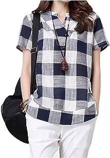 [エムエルーセ] ゆったり 清涼 半袖 チュニック 格子柄 ブロック シャツ 夏物 2 カラー M - 3XL レディース