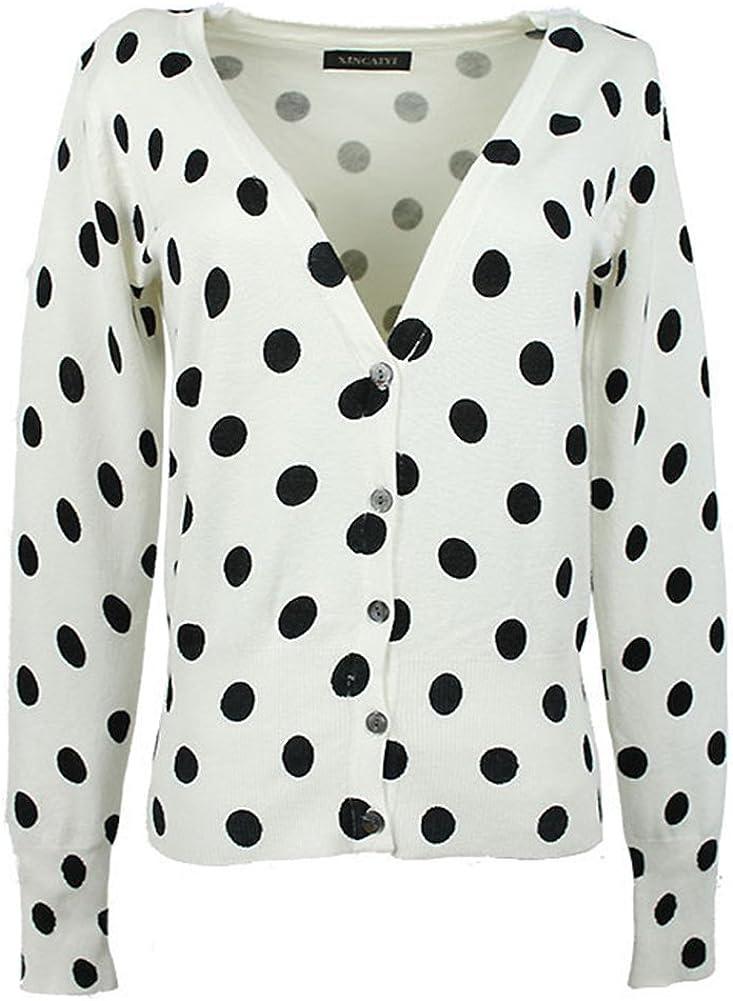 Locomo Black White Polka Dotted Print Pattern Cardigan Shrug FFJ039