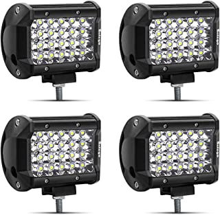 Safego 4' 72W LED Arbeitsscheinwerfer Zusatzscheinwerfer 6000LM LED Auto Scheinwerfer Arbeitslicht Offroad SUV ATV Wasserdicht IP67 12V 24V Car LED Work Light Spotlight, 1 Jahr Garantie, 4 Stück