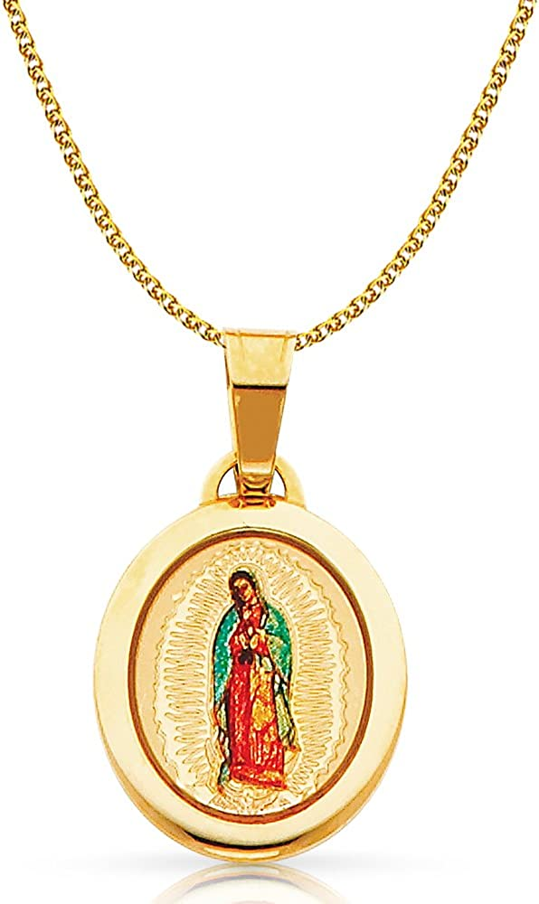 14K Yellow Gold Our Lady of Guadalupe Enamel Picture Charm Pendant with 1.2mm Flat Open Wheat Chain Necklace