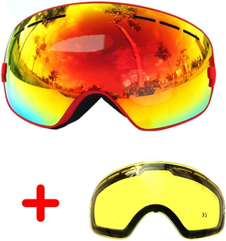 COPOZZ Ski Goggles Double Lens AntiFog Large Glasses Skiing Unisex Snowboard Goggles Spherical Mask ski Goggles UA400+Lens