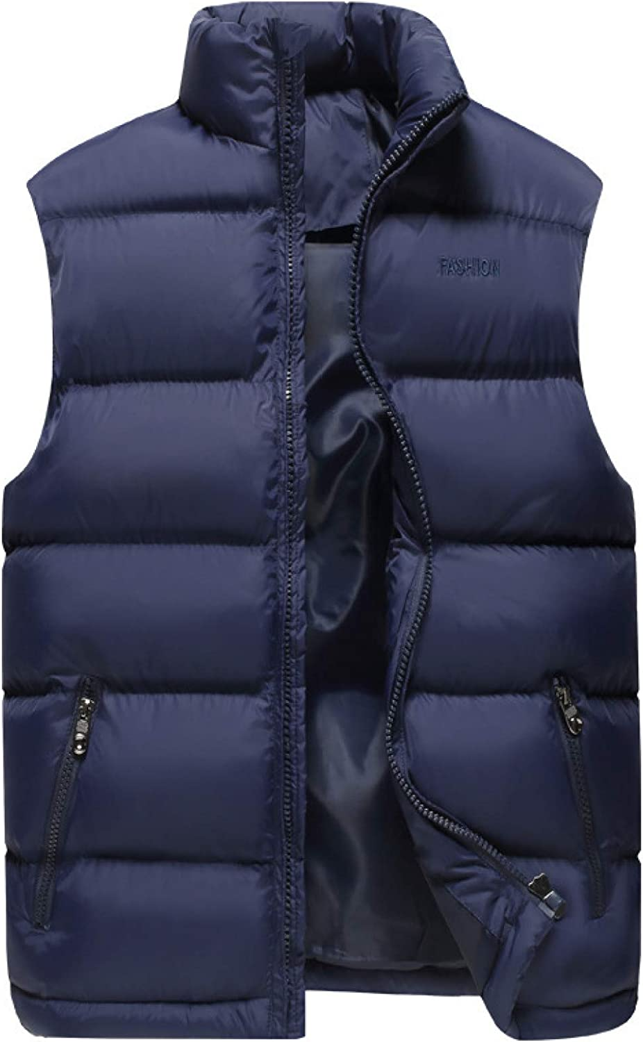 Men's Casual Lightweight Vest Jacket Water-Resistant Quilted Puffer Gilet Outdoor Sport Stand Collar Side Pockets Down Coat