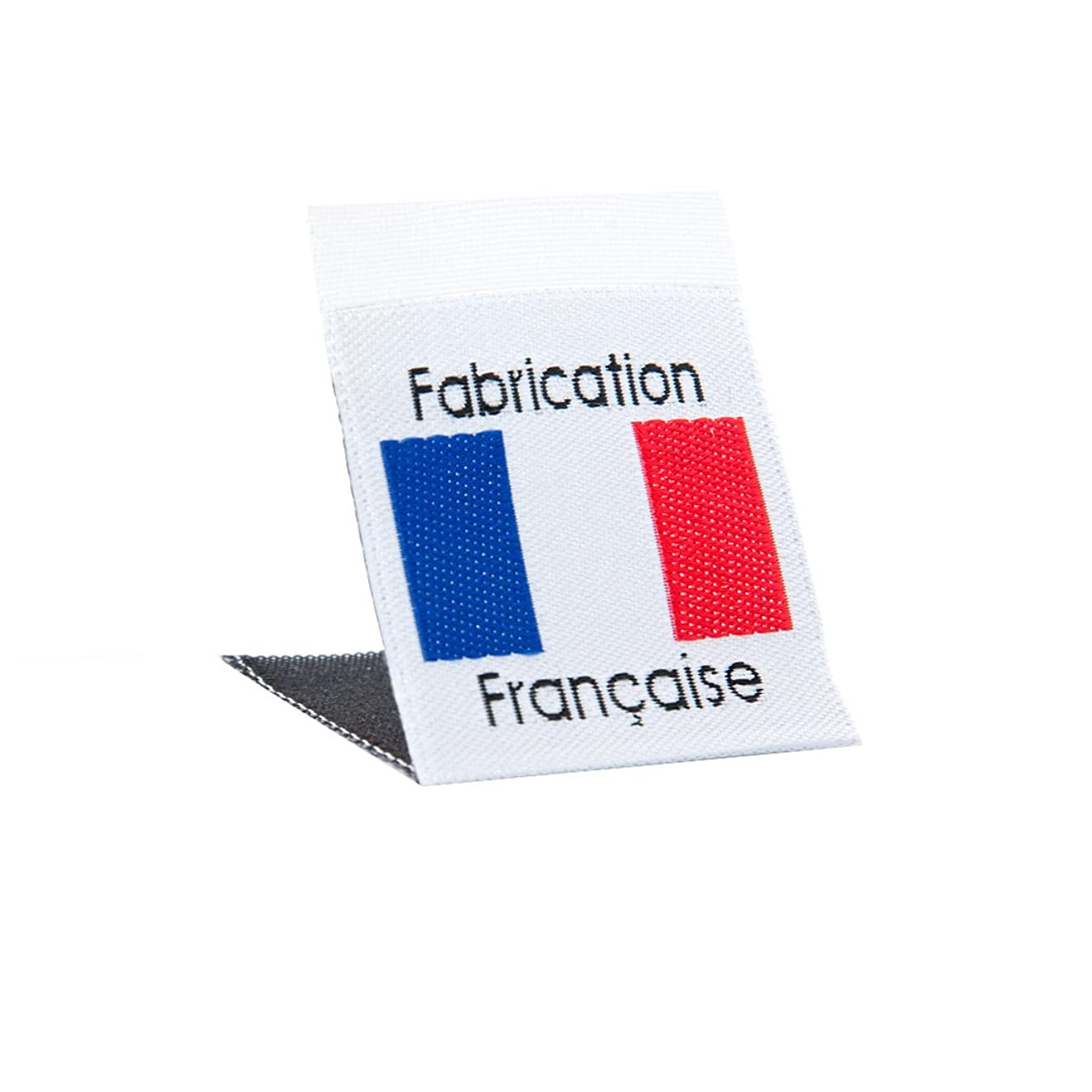 Wunderlabel France Flag Crafting Craft Art Fashion Woven Ribbon Ribbons Tag for Clothing Sewing Sew on Clothes Garment Fabric Material Embroidered Label Labels Tags Blue Red & Black on White 75 Labels