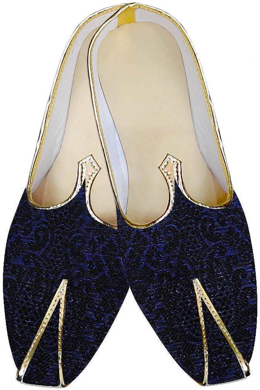 INMONARCH Herren Schwarz und Blau Design Hochzeit Schuhe MJ013442