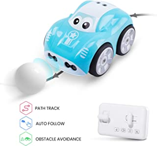 DEERC DE33 Novelty RC Car for Toddlers Boys Girls Inductive Remote Control Cars with Auto Follow,Follow Custom Tracks,Obstacle Avoidance, Toy Cars Gifts for Kids Children