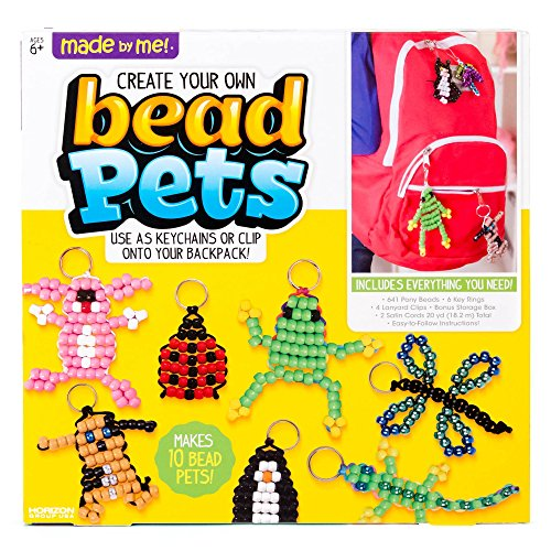 Made By Me Create Your Own Bead Pets by Horizon Group Usa, Includes Over 600 Pony Beads, 6 Key Rings, Storage Box