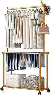 GWLGWL Portant Penderie à Vêtements avec Roues Universels, 4 en 1 Détaché Porte-Manteau en Bambou avec 4 Crochets e Etagèr...