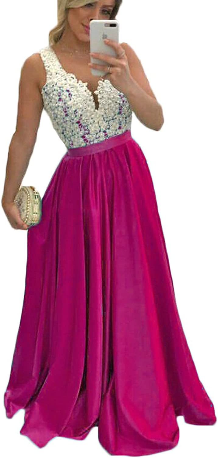 Alexzendra Long Prom Dresses For Women Plus Size Illusion Back Formal Evening Dress Beaded