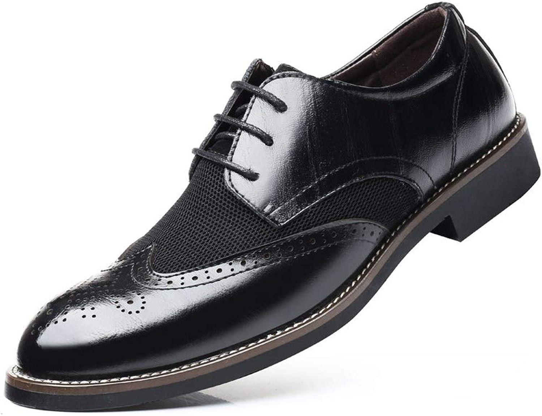 HAPPY LEMON Oxford-Schuhe Langlebige Mode Oxford Schuhe Für Mnner Brogue Schuhe Schnüren Stil Mikrofaser Leder Flügelspitze Skulptur Mode Nhen Hohl Langlebige Mode (Farbe   Schwarz, Gre   47 EU)