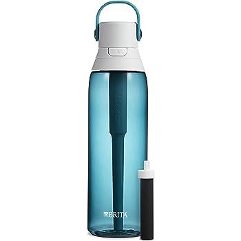 Brita Hard Sided Premium Filtering Water Bottle, 26 Ounce, Sea Glass