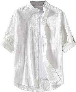 [リディーコロ] スタンドカラー 半袖シャツ ボタンシャツ 夏 秋 メンズ L~3XL 3カラー