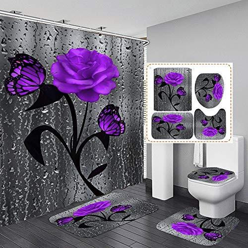 Hankyky 4 STK. Blumenduschvorhang-Sets mit rutschfesten Teppichen, Toilettendeckel & Badematte, Rose Flower Regentropfen-Duschvorhang mit 12 Haken, wasserdichter Stoff-Duschvorhang Badezimmerdekor