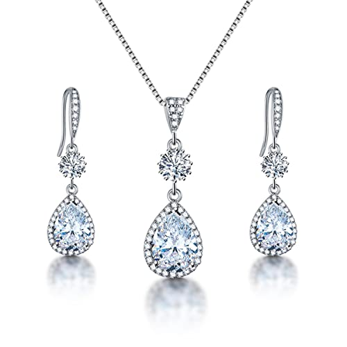 AMYJANE Elegant Jewelry Set for Women - Silver Teardrop Clear Cubic  Zirconia Crystal Rhinestone Drop Earrings 8ce370725466