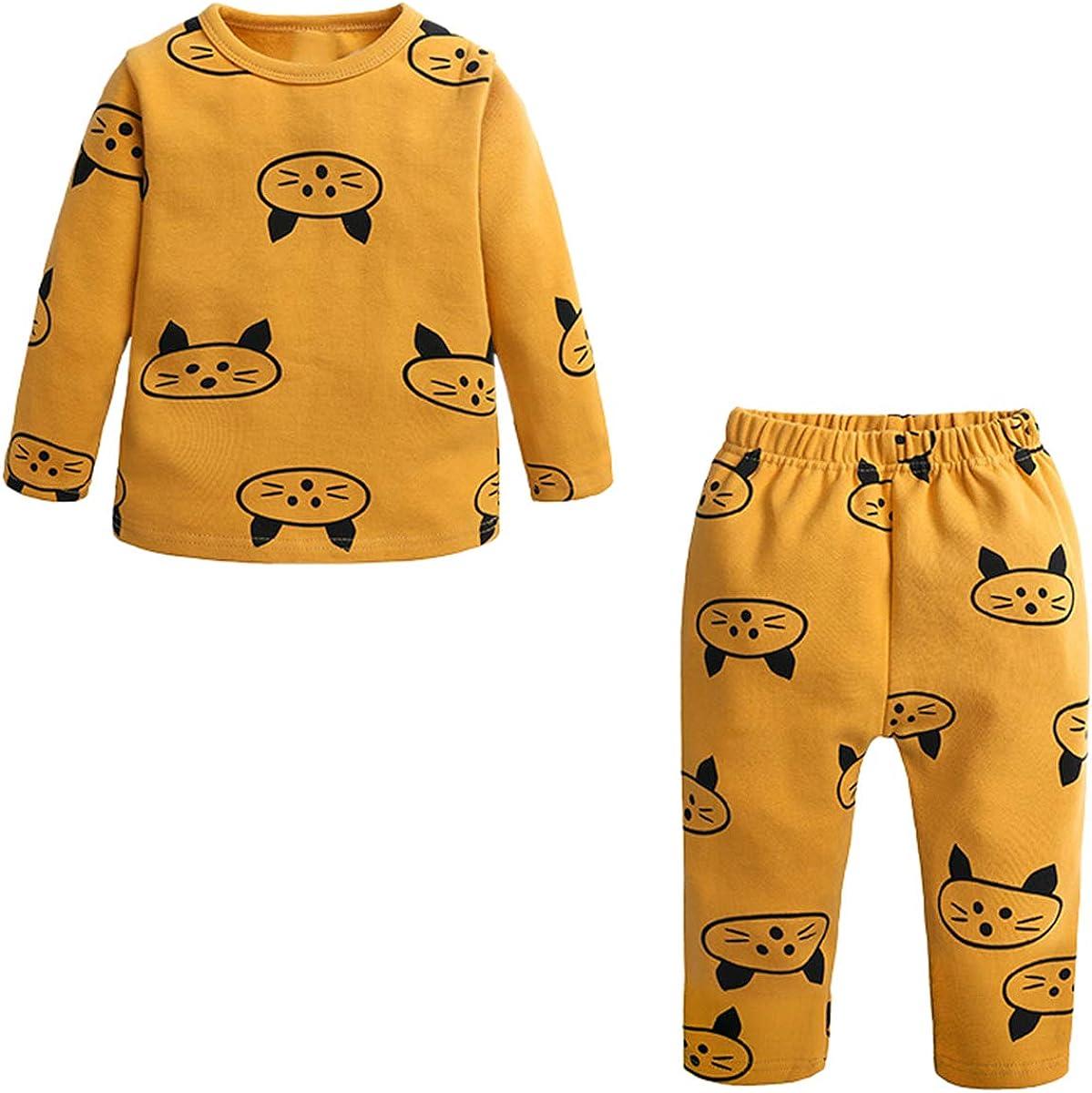 Kids Girl's Thermal Underwear 2 Piece Cat Print Sleepwear Set, Yellow, 4-5T = Tag 130