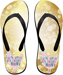 AA+ME Life is Better with Chickens Comfortable Men Women Summer Beach Sandals Shower Flip-Flops Slippers