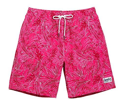 "WUAMBO Men's Sports Surfing Boardshorts Quick Dry Swim Trunks with Mesh Lining,Pocket.Pink Shorts/X-Large (Waist:33""-35"")"