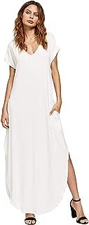 Women's V Neck Side Pockets Split Hem Beach Long Maxi Dress