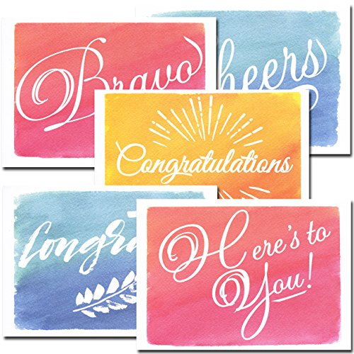 Congratulations Cards: Colorful Assortment – 30 Boxed Blank Note Cards + 32 Envelopes by CroninCards