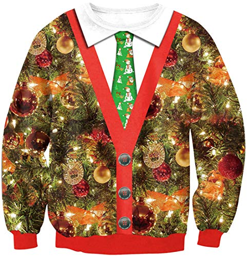 PANOZON Sudadera Navidad Hombre sin Capucha Cuello Redondo Impresa 3D Dibujos Jersey de Navidad Disfraz en Christmas(M, Campanilla 158-2)
