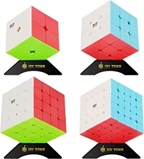 JoyTown Speed Cube Set of 4, Qiyi Stickerless Cube Bundle Pack, 2x2x2 3x3x3 4x4x4 5x5x5 Puzzle Cube, Magic Twisty Speedcubing with Bonus Four Stands and Screwdirver Great Gift Idea for Kids