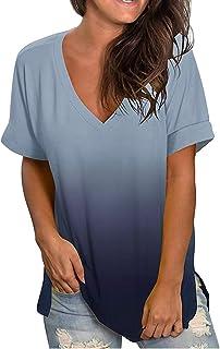 LADYSHOP تي شيرت المرأة فضفاض تي شيرت قصير الأكمام أعلى التدرج الخامس الرقبة قميص الصيف عارضة أزياء قميص