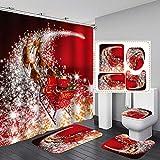 Frohe Weihnachten Duschvorhang-Sets, 4 Stück Weihnachts-Duschvorhang/rutschfeste Badezimmerteppiche/Deckel WC-Bezug/Badematte, lustiger Weihnachtsmann Teppich Badezimmer Dekor