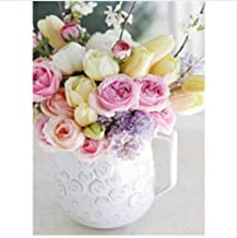 Paint by Numbers Painting Kit White Vase Colorful Bouquet Pink Yellow for Adult Home Wall Living Room Bedroom Decoration