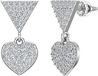 Diamond Dangle Earrings Heart Pattern Cluster Triangle Top 14K Gold 0.75 ctw (G,SI)