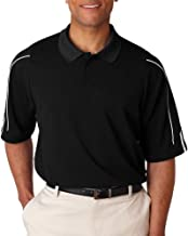 adidas Men's 3-Stripes Contrast Piping Polo Shirt, Blk/Wht, Large