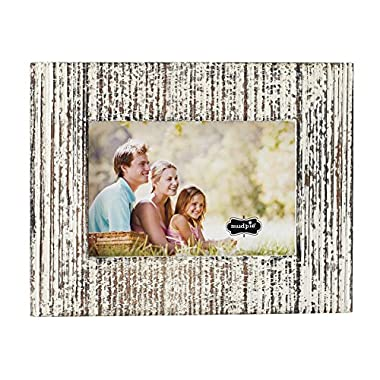 Mud Pie 4695408S Distressed White-Washed Wood Picture Frame, 4  x 6