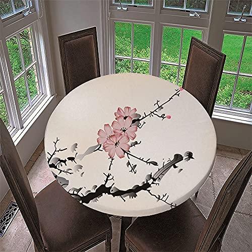 Chickwin Mantel Antimanchas Redondo, Mantel de Mesa Impermeable Diseño de Borde Elástico con Estampado Pintura Chinoiserie Mantel Redondo para Comedor, Cocina y Picnic (Flor de Ciruelo A,120cm)