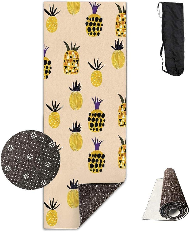 70Inch Long 28Inch Wide Comfort Velvet Yoga Mat, orange Pineapple Mat Carrying Strap & Bag