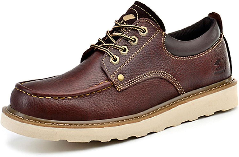 LEDLFIE Chaussures pour Hommes Retro Décontracté cuir chaussures démarrageies,marron-38