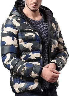 REYO Men's Jacket Winter Warm Hooded Down Jacket Casual Overcoat Outwear Camouflage Slim Trench Zipper Coat