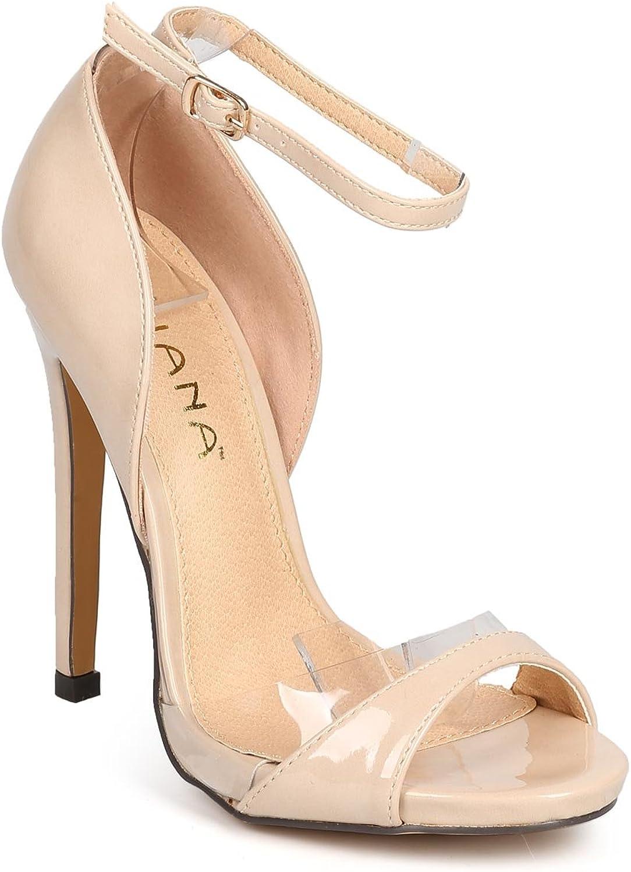 Liliana Women Patent Lucite Peep Toe Single Sole Stiletto Sandal DI18 - Nude