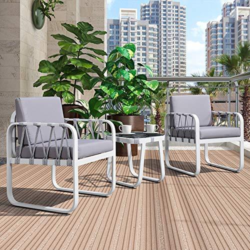 Hmcozy Premium Patio Bistro Set, Außen 3-Piece-Stuhl Bistro-Set Patio-Möbel-Zwei Stühle mit Couchtisch (Grau Kissen)