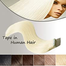 24 inch Tape In Human Hair Extensions Platinum Blonde Highlighted Long Straight Hair 20pcs Professional Seamless Skin Weft Double Sided Tapes +10pcs Free Tapes (24'' #60)