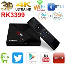 RK3399 Android TV Box 7.1 with 6 Cores Bluetooth4.1 Air Mouse with Dual Cortex-A72 Channels Mini Smart Box,2.4/5.8G Dual-Band WIFI/1000M Set Top Box